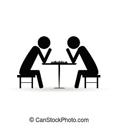 people chess symbol vector black