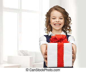 happy smiling girl with gift box - people, childhood, summer...