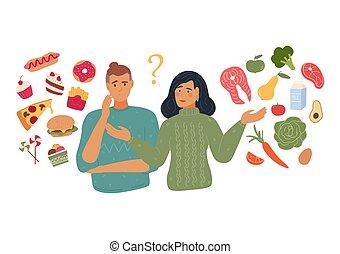 People chooses between fast food and healthy