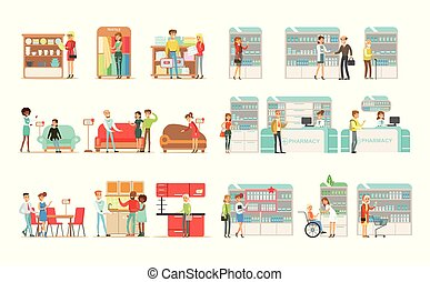 People choosing and buying furniture in shop, shoppers buying drugs, vitamins and medications in pharmacy vector Illustrations on a white background