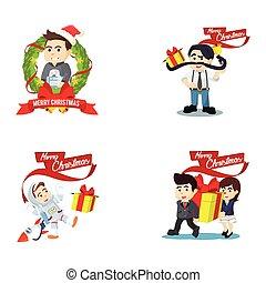 people christmas cartoon set