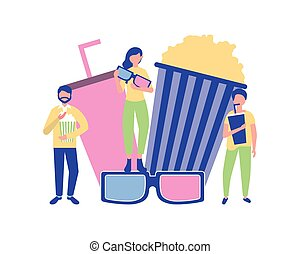 people cinema movie film popcorn 3d glasses and soda