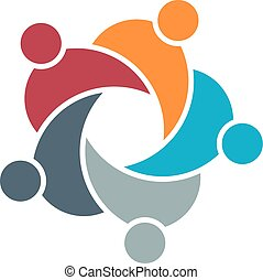 People Circle Group Logo. Vector Graphic Illustration