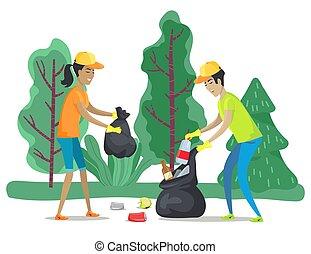People Cleaning Forest, Volunteers Sorting Trash
