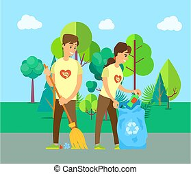 People Cleaning Up Street, Trash Outdoor Vector