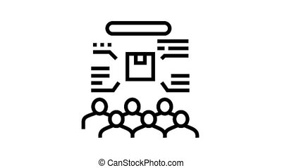 people clients reading reviews animated black icon. people clients reading reviews sign. isolated on white background