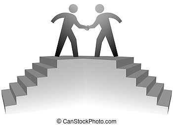 Two business people climb stairs to a podium to shake hands on deal.