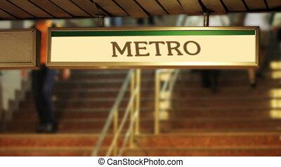 crowded metro steps