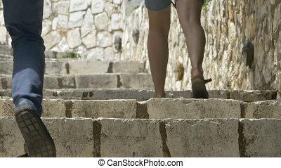 People Climbing Stone Stairs