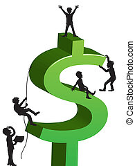 people climbing the dollar sign