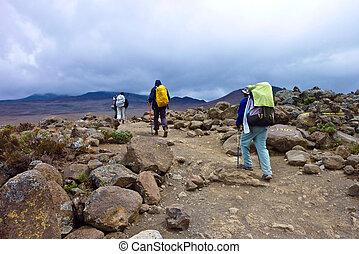 people climbing the Mount Kilimanjaro, the highest mountain ...