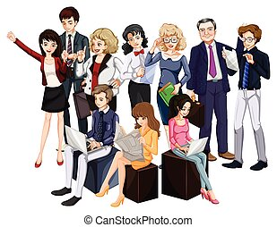 People - Group of people in formal attire on white...
