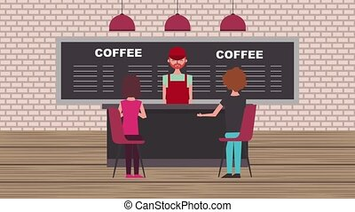 people coffee shop - barista working coffee shop and...