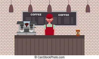 people coffee shop - coffee shop barista working bar counter...