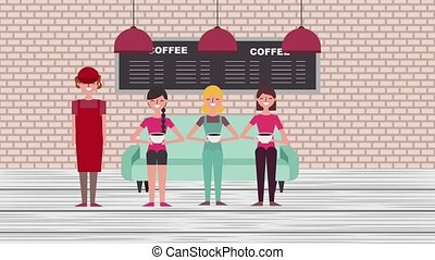 people coffee shop - group female sit on sofa drinking...