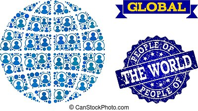 People Collage of Mosaic Globe and Grunge Seal Stamp