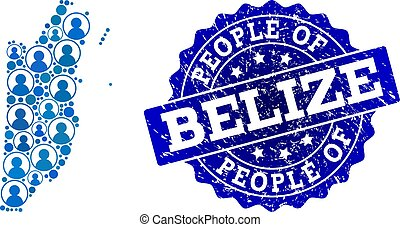 People Collage of Mosaic Map of Belize and Distress Seal Stamp