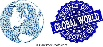 People Collage of Mosaic Map of Global World and Scratched Seal Stamp