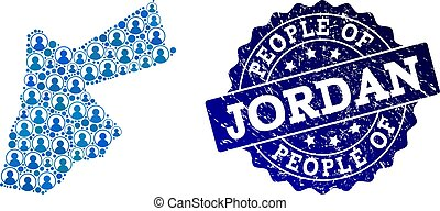 People Collage of Mosaic Map of Jordan and Distress Seal Stamp