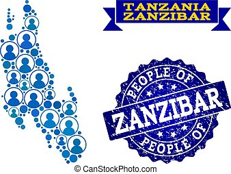 People Collage of Mosaic Map of Zanzibar Island and Grunge Seal Stamp