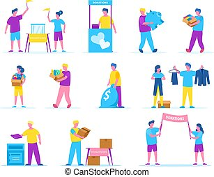 People collect charity donations of money, clothes, food vector illustration isolated set.