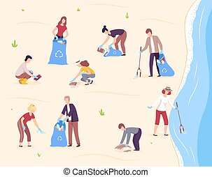 People Collecting Trash into Plastic Bags, Volunteers Cleaning the Beach From Pollution Vector Illustration