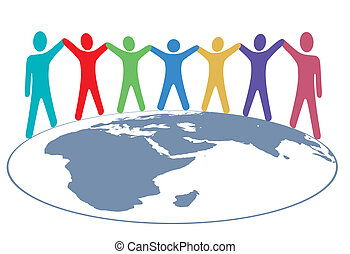 People colors Hold Hands and Arms on World Map - Diverse...