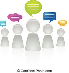 People communicating - Abstract figures with speech bubbles