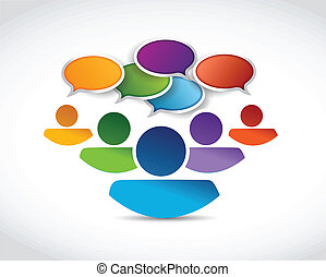 people communication and message bubbles illustration design over a white background