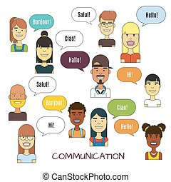 People communication vector illustration. International foreign language communications