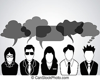 People communication with speech bubbles