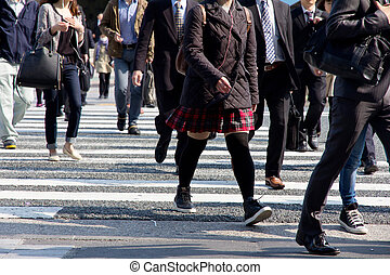 People commuting in rush hour at zebra crossing, Tokyo japan
