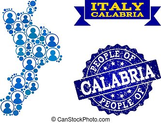 People Composition of Mosaic Map of Calabria Region and...