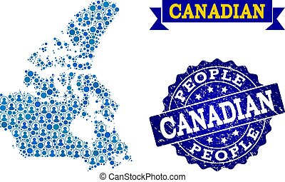 People Composition of Mosaic Map of Canada and Scratched Seal