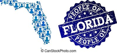 People Composition of Mosaic Map of Florida State and Grunge Seal Stamp