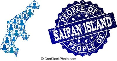 People Composition of Mosaic Map of Saipan Island and Textured Seal Stamp