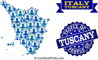 People Composition of Mosaic Map of Tuscany Region and...