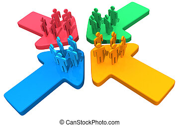 Four groups of people meet and connect at intersection of four arrows
