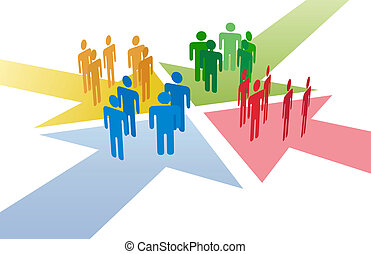 Four groups of people meet and connect at intersection of 4 arrows