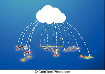 People connected In Cloud, flat illustration