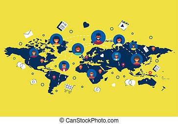 People connected on social media around the world
