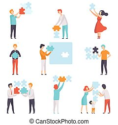 People connecting puzzle elements set, men, women and kids putting jigsaw puzzles vector Illustration on a white background