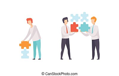 People Connecting Puzzle Pieces Set, Businessmen Trying to Find Solution Together Flat Vector Illustration