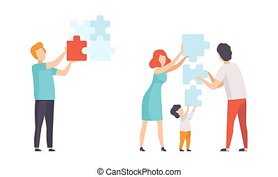 People Connecting Puzzle Pieces Set, Family Trying to Find Solution Together Flat Vector Illustration