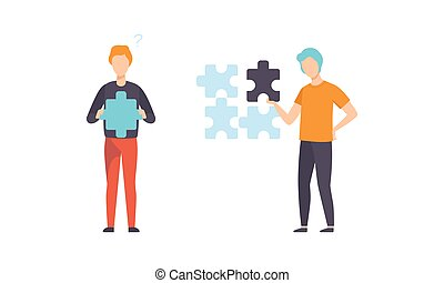 People Connecting Puzzle Pieces Set, Men Trying to Find Solution Flat Vector Illustration