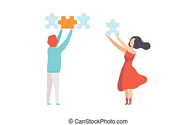 People Connecting Puzzle Pieces Trying to Find Solution Flat Vector Illustration