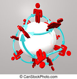 Many people connected in a social network around a sphere