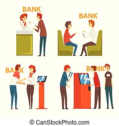 People Consulting at Managers at Bank Office and Getting Money Through Cash Dispenser, Banking Service Vector Illustration