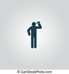 People consume alcohol or water. Flat web icon or sign...