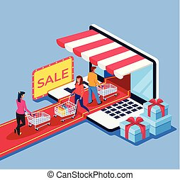 People consumers go in and out internet shop market. Online e commerce retail store shopping concept. Vector design graphic flat cartoon isolated illustration